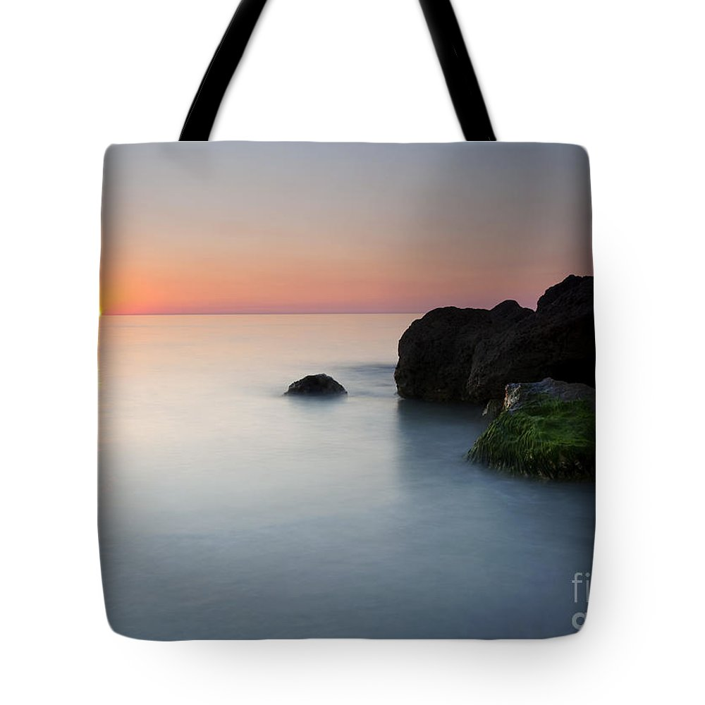 Beach Tote Bag featuring the photograph Tranquil Sunset by Mike Dawson