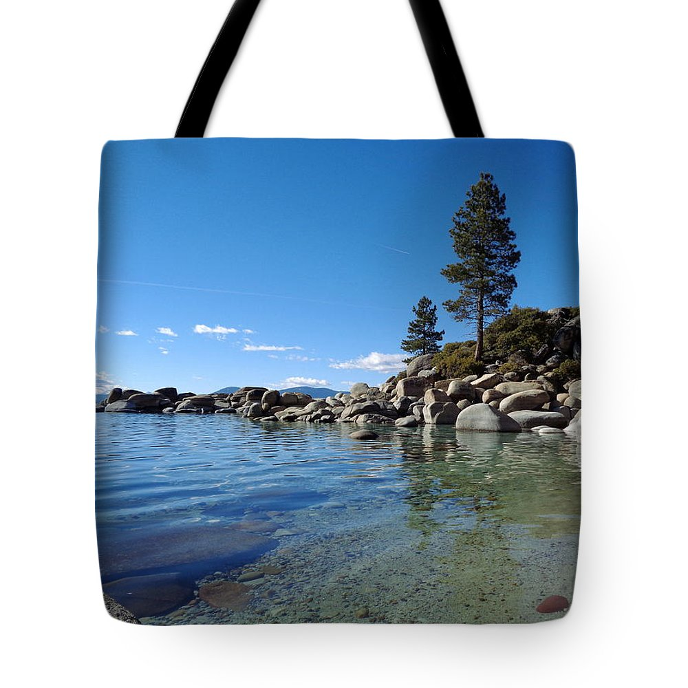 Lake Tahoe Tote Bag featuring the photograph Tranquil Tahoe Beach by Kristina Lammers