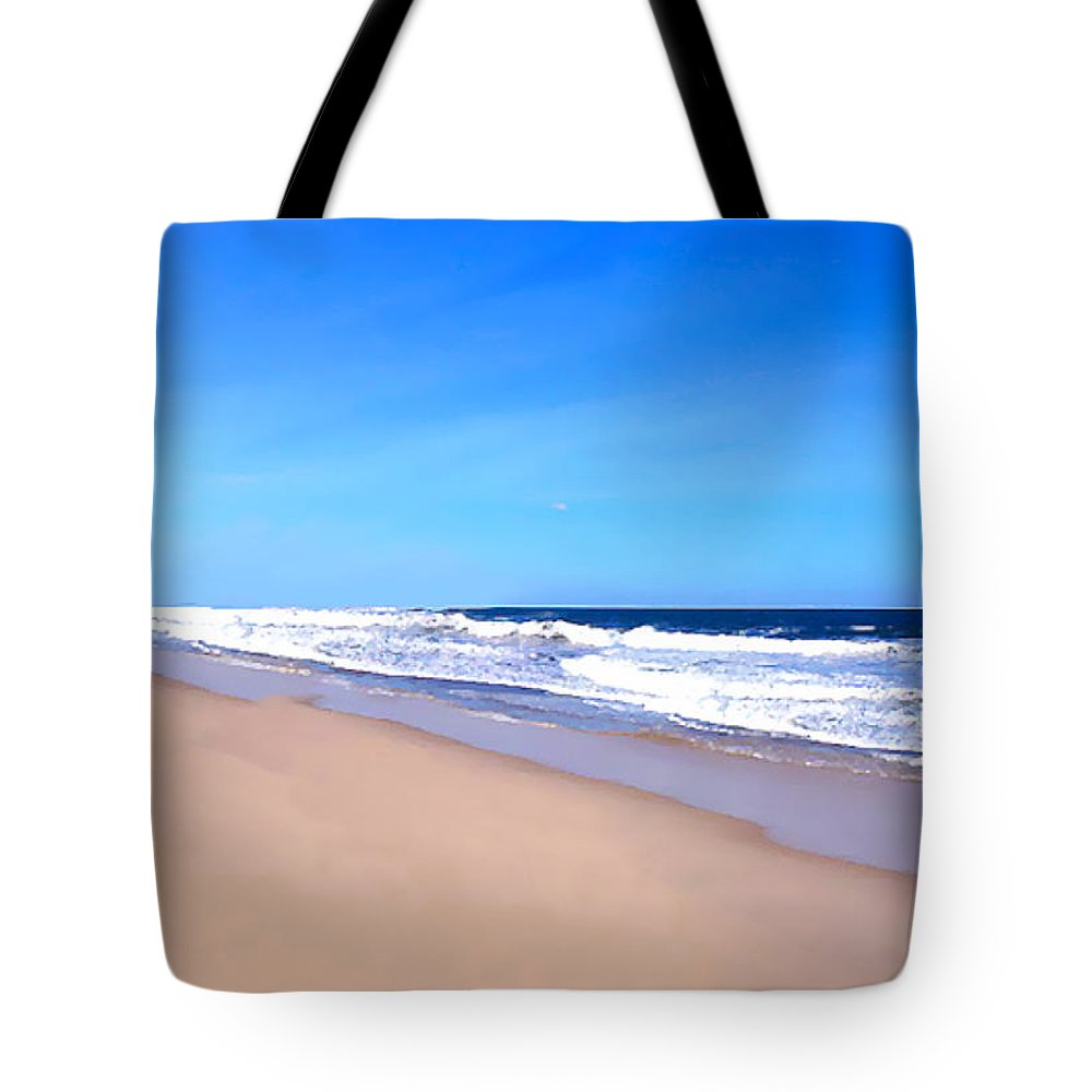 Ocean Painting Tote Bag featuring the painting Tranquility II By David Pucciarelli by Iconic Images Art Gallery David Pucciarelli