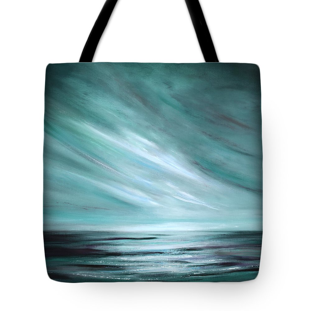 Sunset Tote Bag featuring the painting Tranquility Sunset by Gina De Gorna