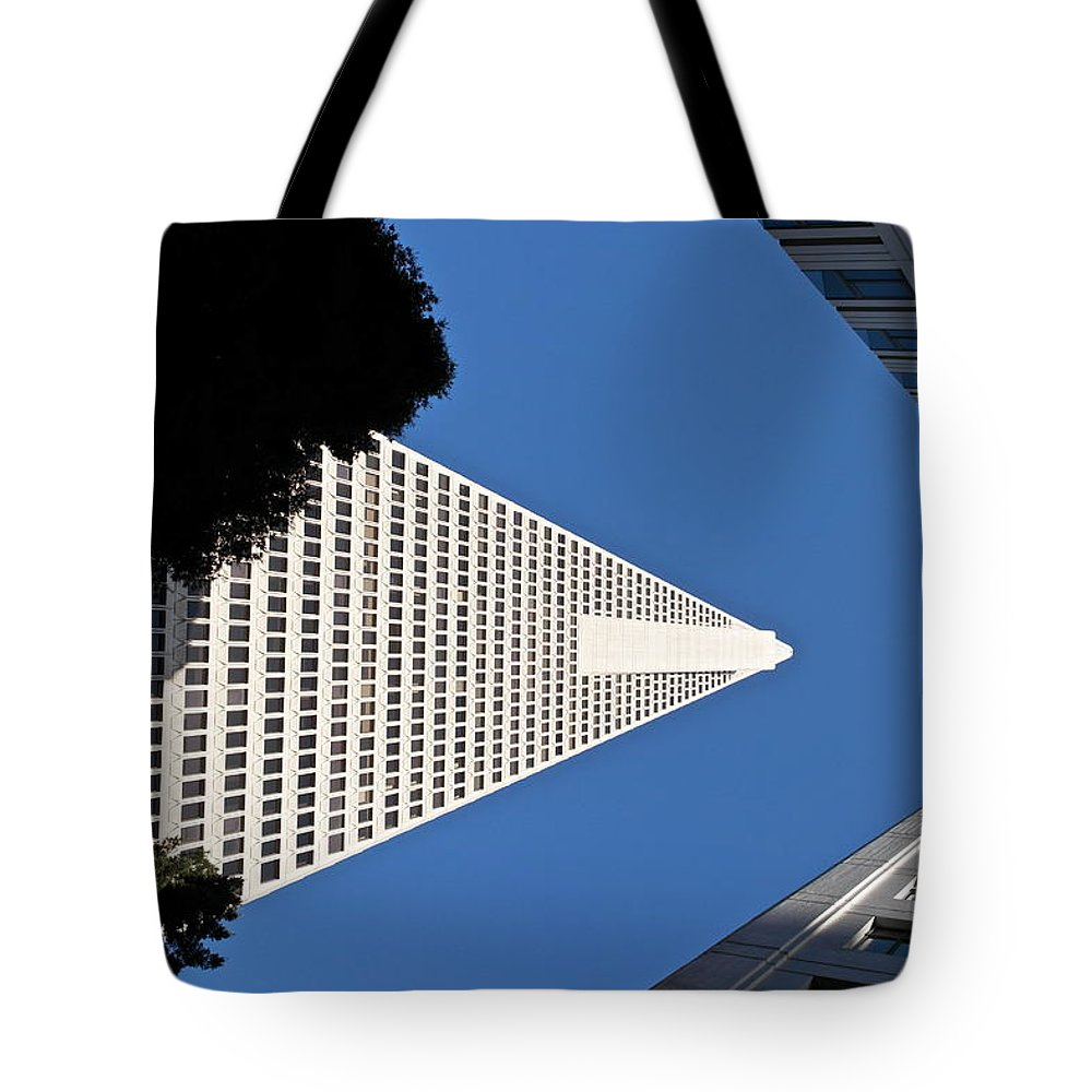 Transamerica Pyramid Building Tote Bag featuring the photograph Transamerica Pyramid Triad - San Francisco by Michele Myers