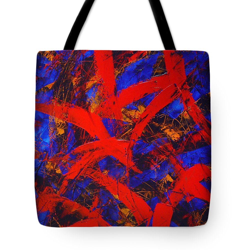 Abstract Tote Bag featuring the painting Transitions With Blue And Red by Dean Triolo