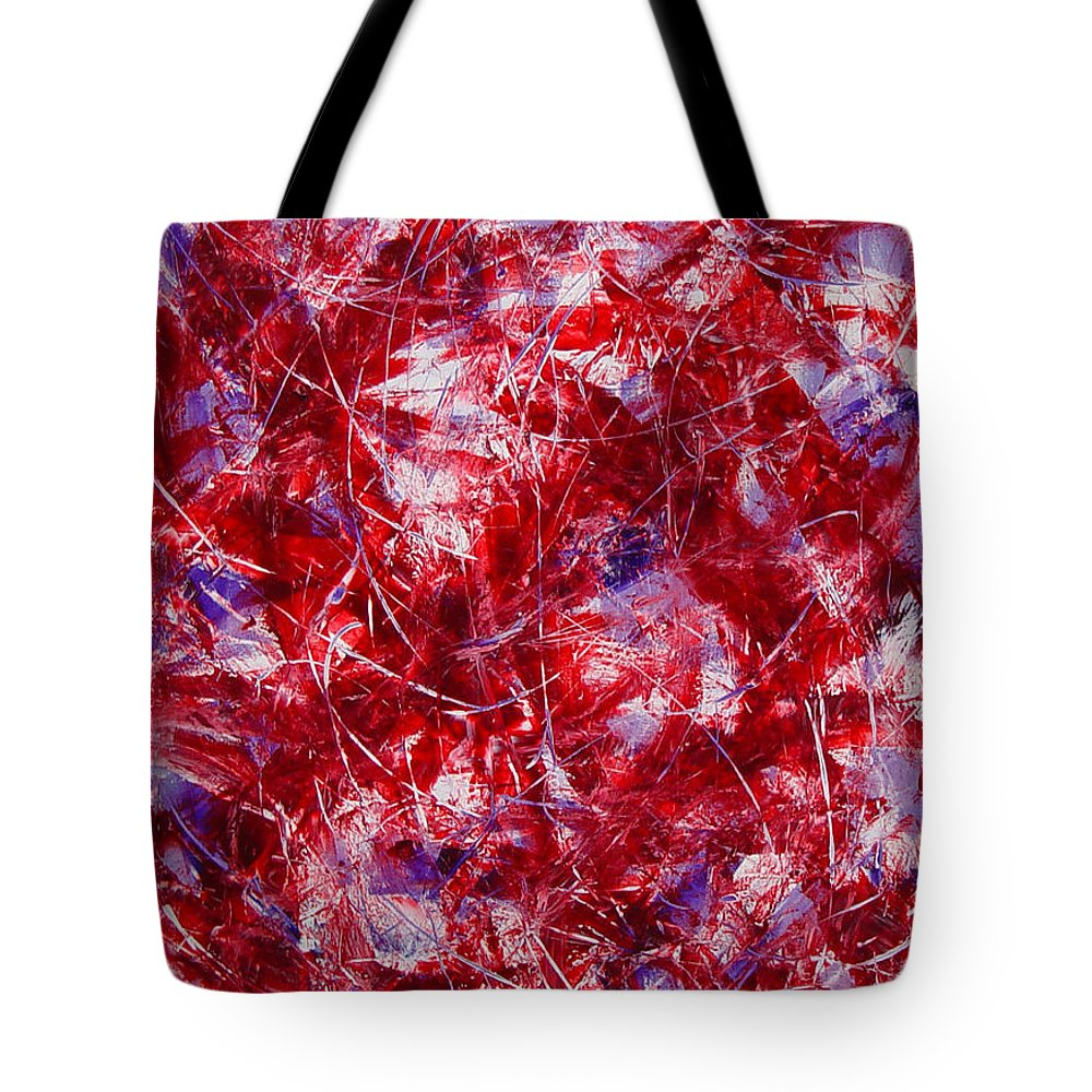 Abstract Tote Bag featuring the painting Transitions With White Red And Violet by Dean Triolo