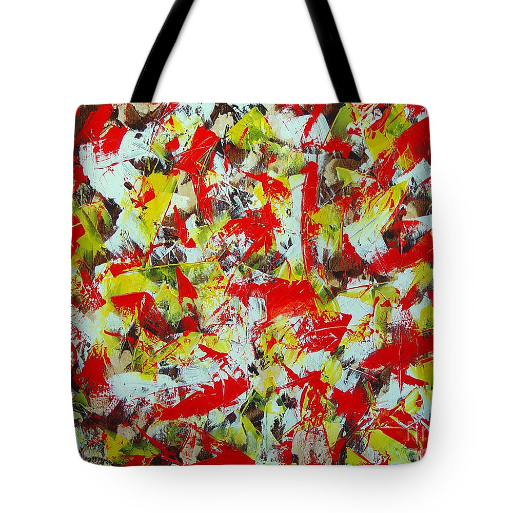 Abstract Tote Bag featuring the painting Transitions With Yellow Brown And Red by Dean Triolo