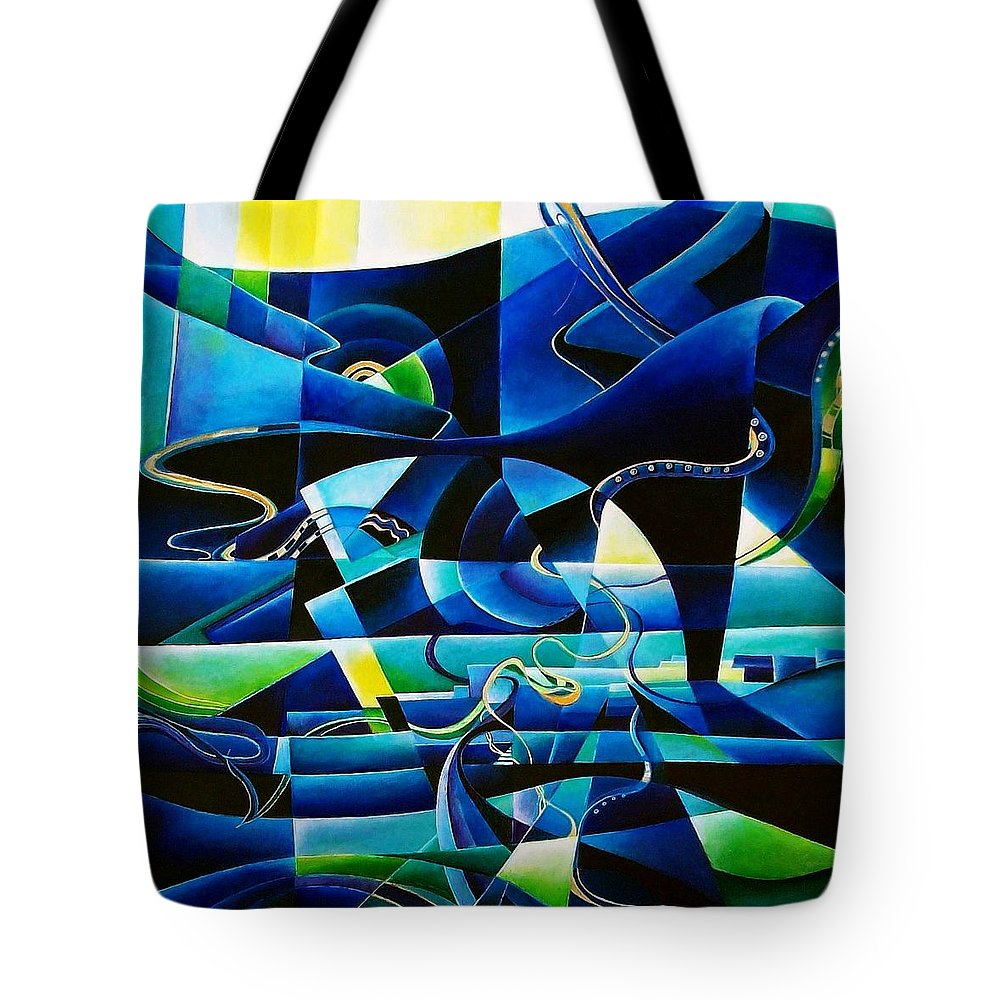 Lago Maggiore Lago Di Como Claudio Monteverdi Mass For Four Voices Kyrie Eleison Tote Bag featuring the painting Transitions by Wolfgang Schweizer