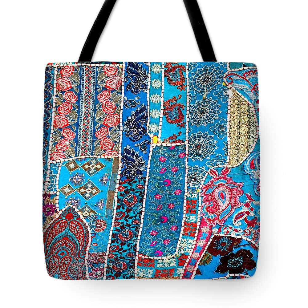 397f6758df6d Travel Tote Bag featuring the photograph Travel Shopping Colorful Tapestry  2 India Rajasthan by Sue Jacobi