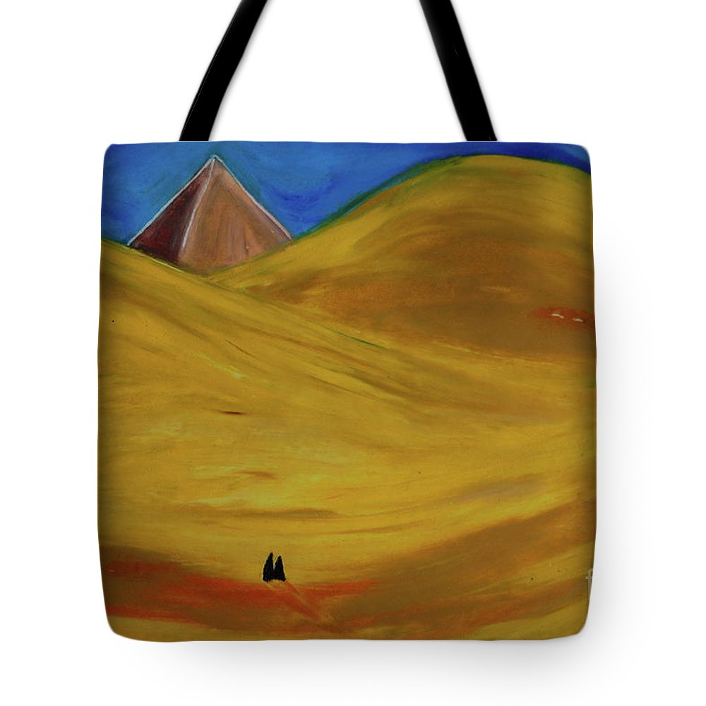 Pyramid Tote Bag featuring the drawing Travelers Desert by First Star Art