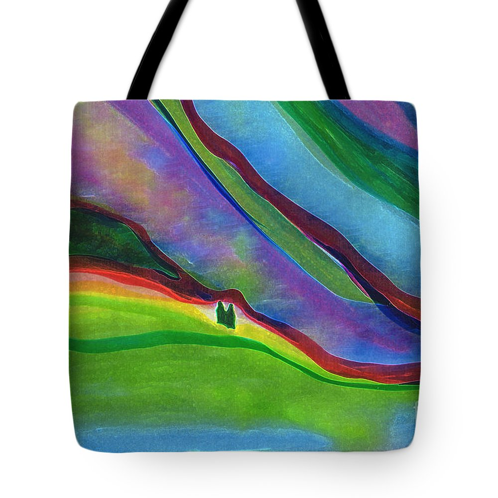 Landscape Tote Bag featuring the digital art Travelers Foothills By Jrr by First Star Art
