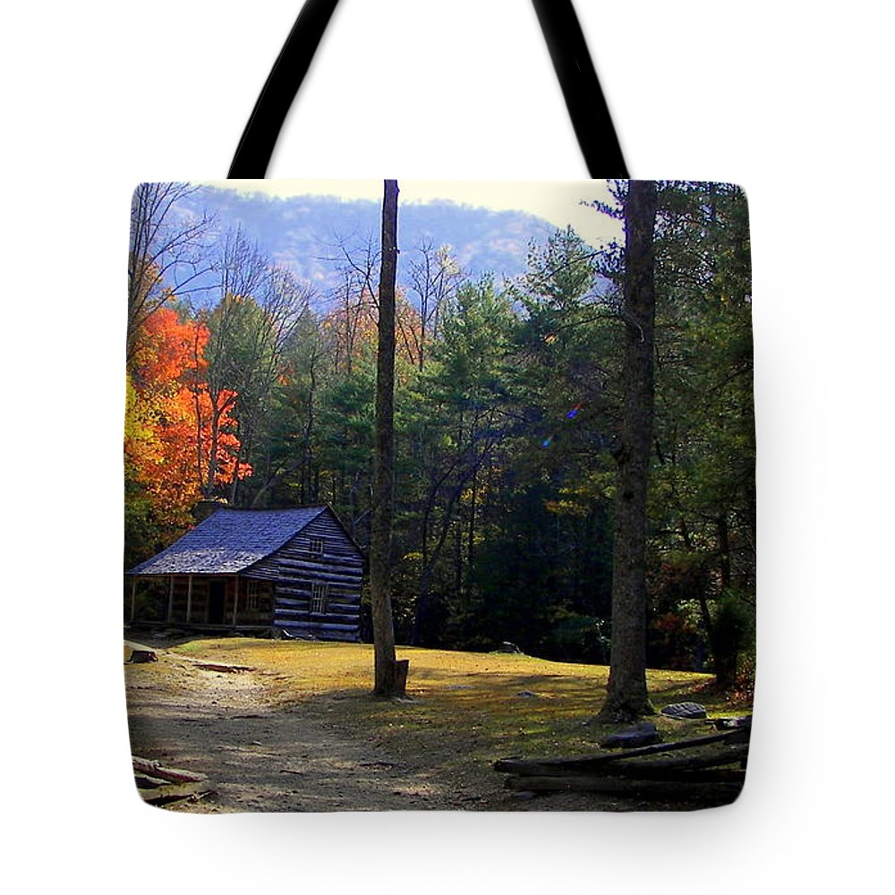 Cabins Tote Bag featuring the photograph Traveling Back In Time by Karen Wiles