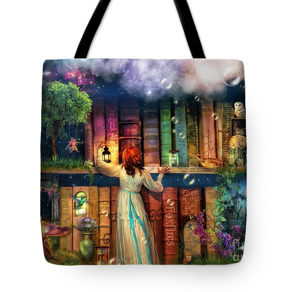 Fairytale Tote Bag featuring the digital art Fairytale Treasure Hunt Book Shelf Variant 2 by Aimee Stewart