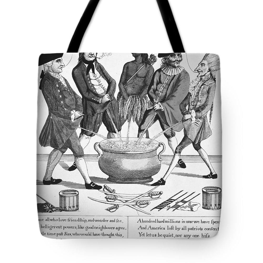 1783 Tote Bag featuring the photograph Treaty Of Paris Cartoon by Granger