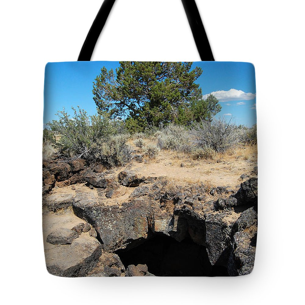 Sky Tote Bag featuring the photograph Lava Beds National Monument Cave by Debra Thompson