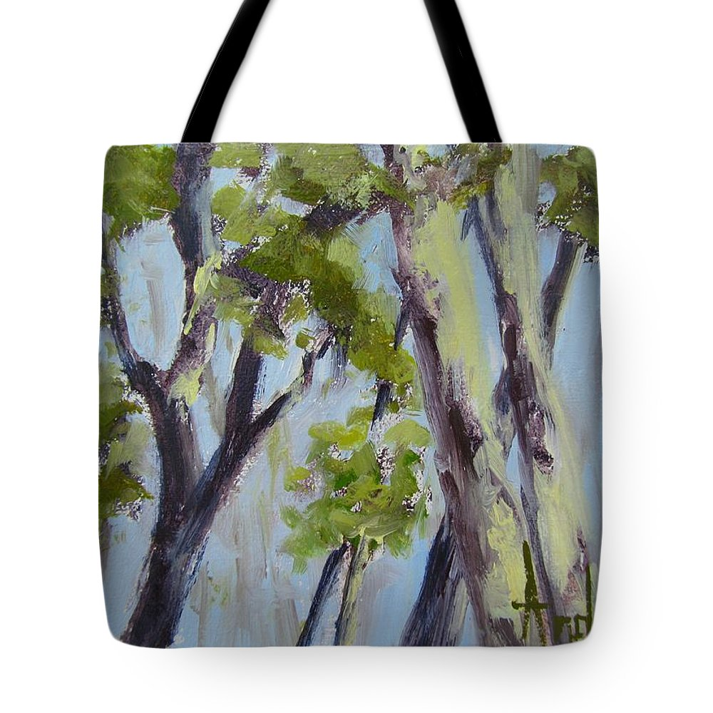 Trees Tote Bag featuring the painting Tree Canopy by Barbara Andolsek