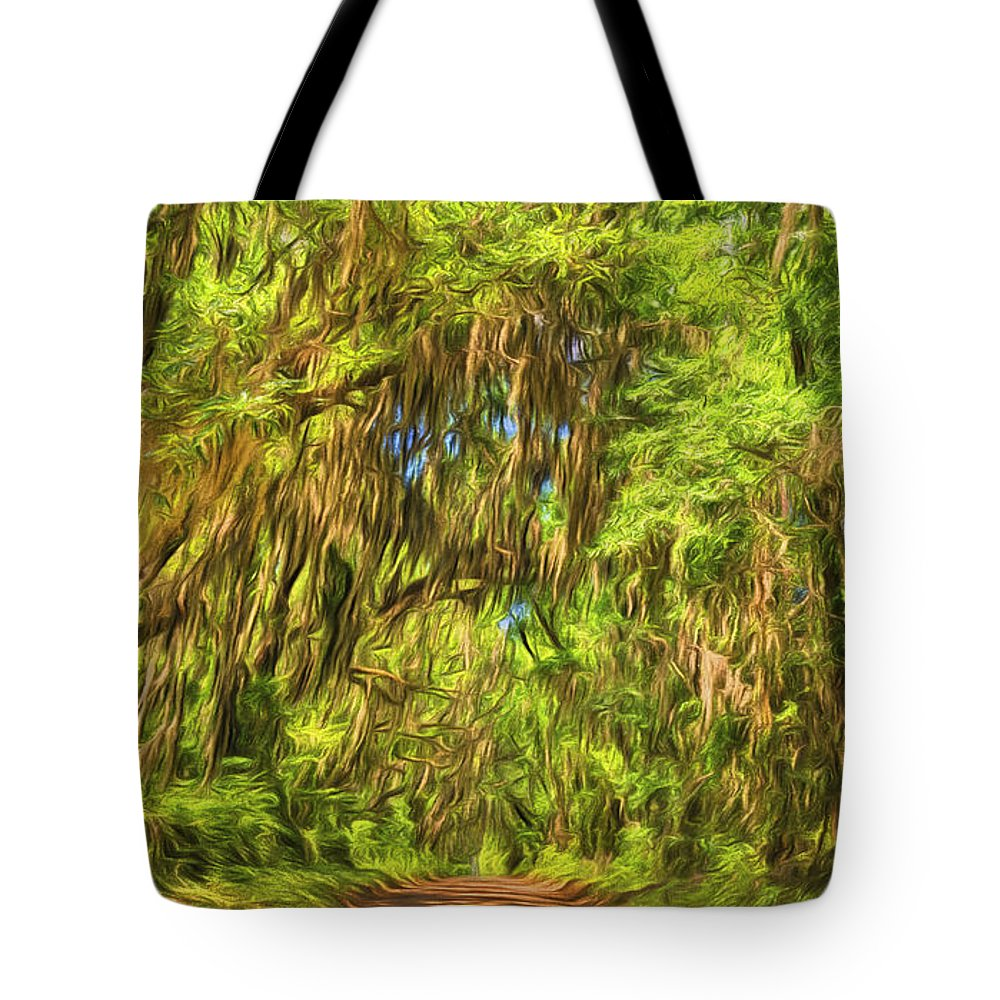 Trees Tote Bag featuring the photograph Tree Covered Road by Lewis Mann
