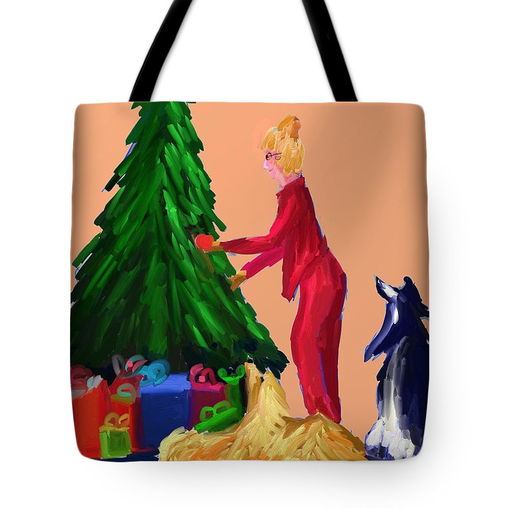Christmas Card Tote Bag featuring the digital art Tree Decorating by Terry Chacon