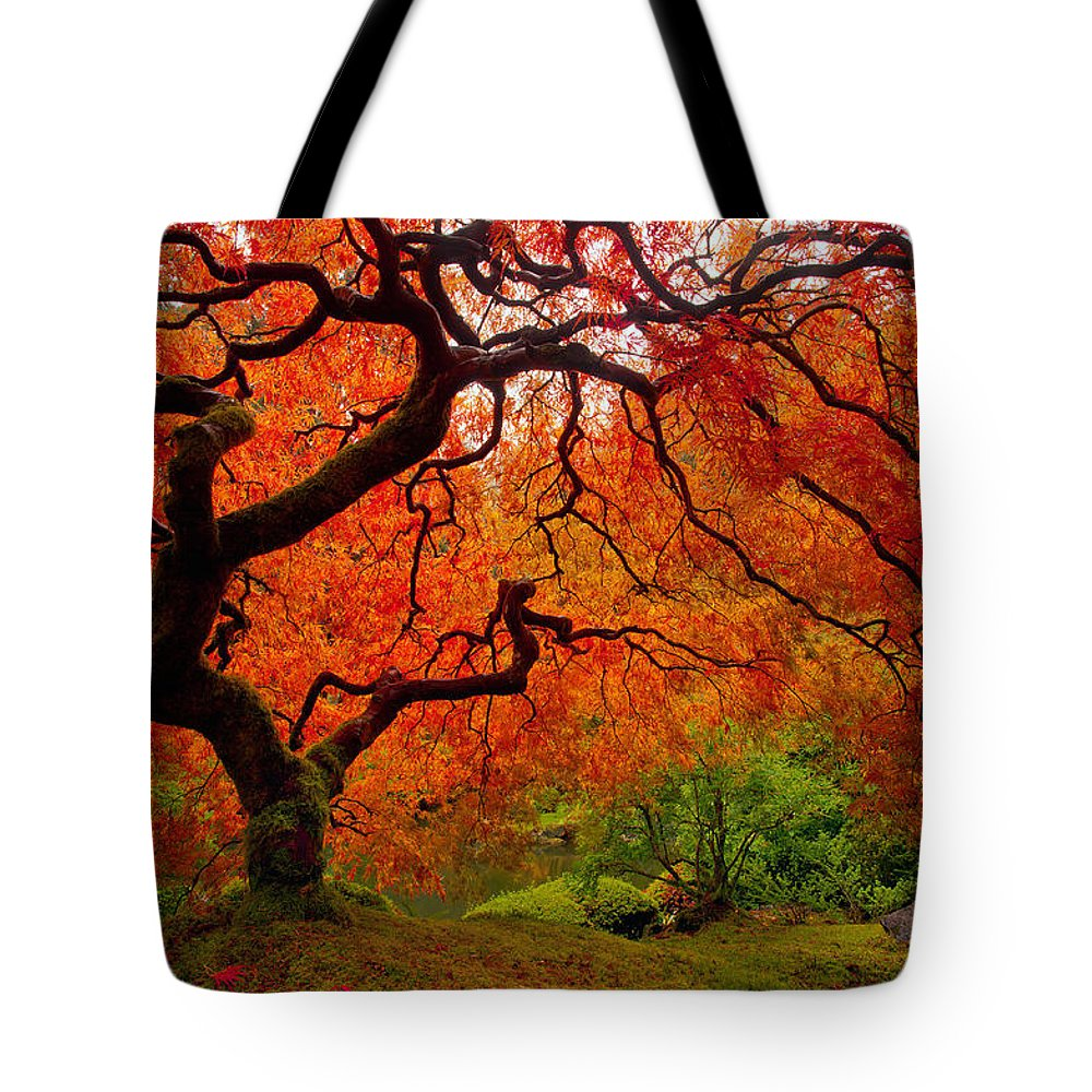 Portland Tote Bag featuring the photograph Tree Fire by Darren White