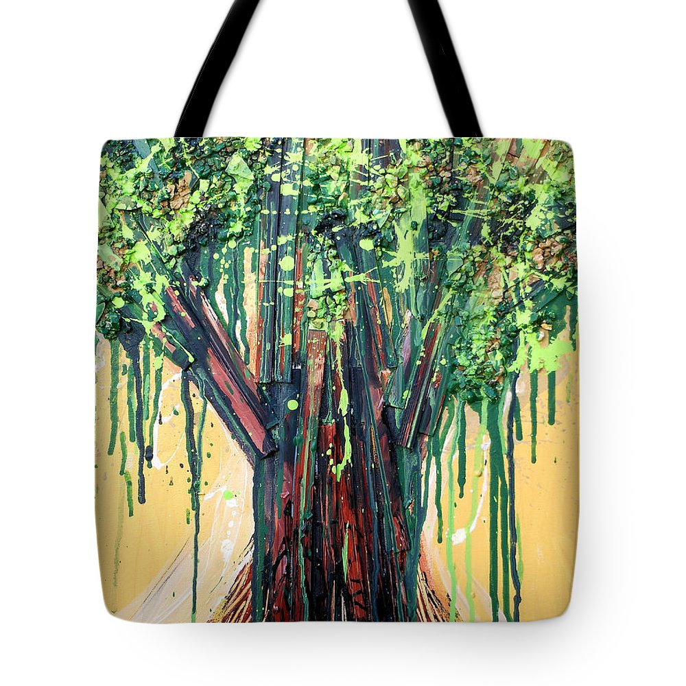 Tree Tote Bag featuring the painting Tree Grit by Genevieve Esson