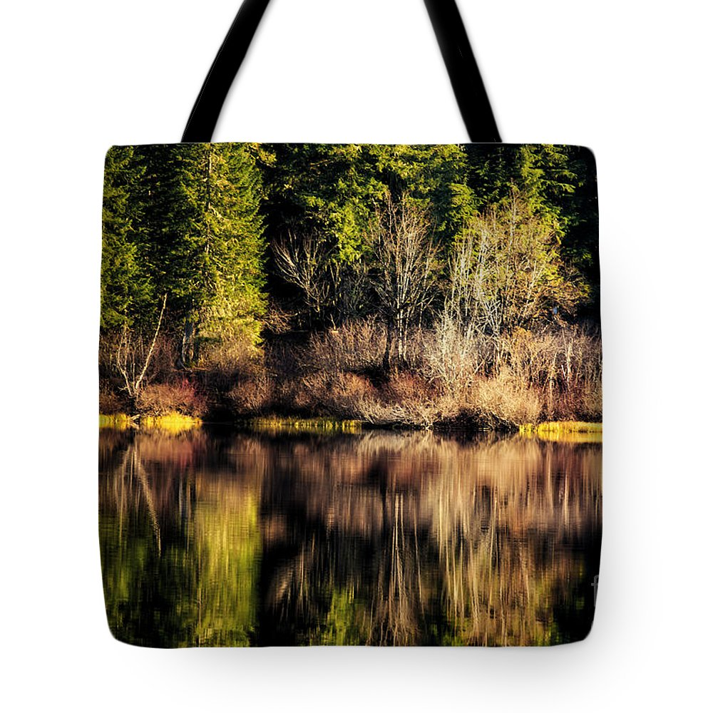 Lake Tote Bag featuring the photograph Tree Impressions by Belinda Greb