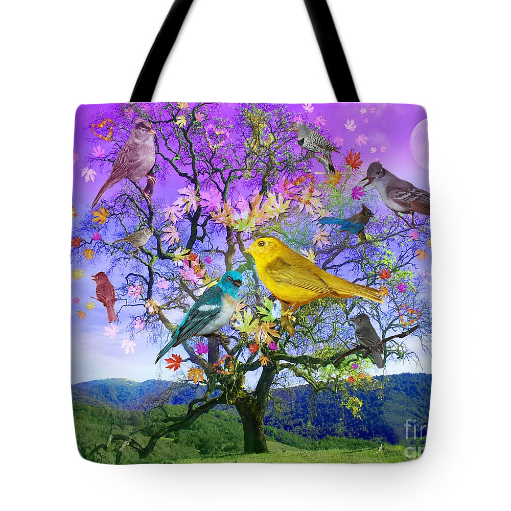 Alixandra Mullins Tote Bag featuring the digital art Tree Of Happiness by MGL Meiklejohn Graphics Licensing