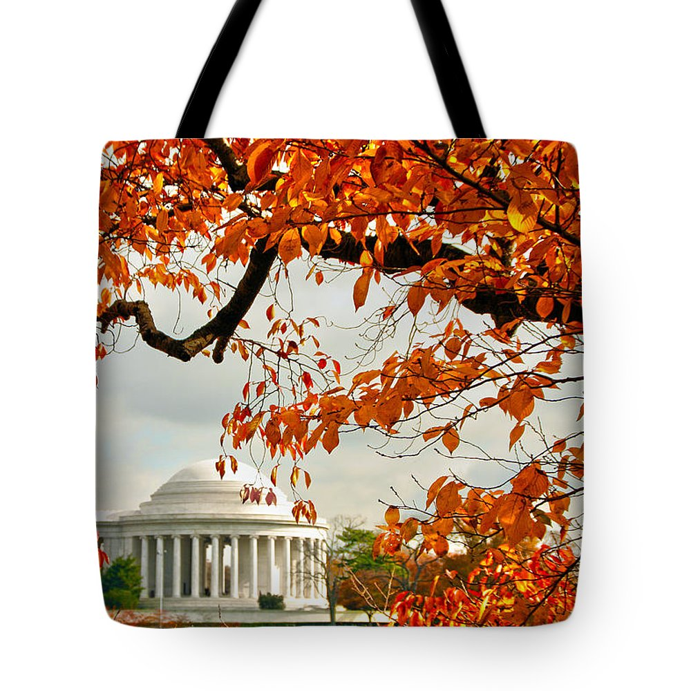 Jefferson Memorial Tote Bag featuring the photograph Tree Of Liberty by Mitch Cat