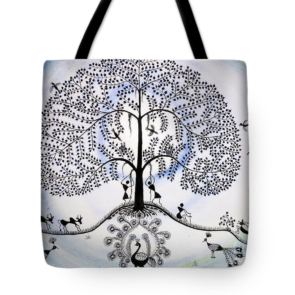 Warli Village Life Tote Bag featuring the painting Tree Of Life by Anjali Vaidya