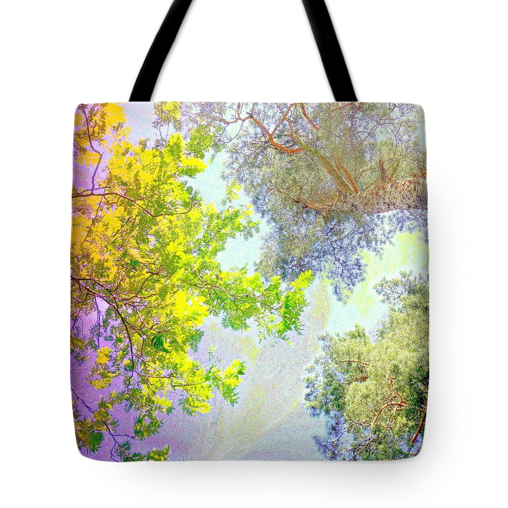 Tree Tote Bag featuring the photograph when the tree tops are looking down at me I am feeling little but also very lucky by Hilde Widerberg
