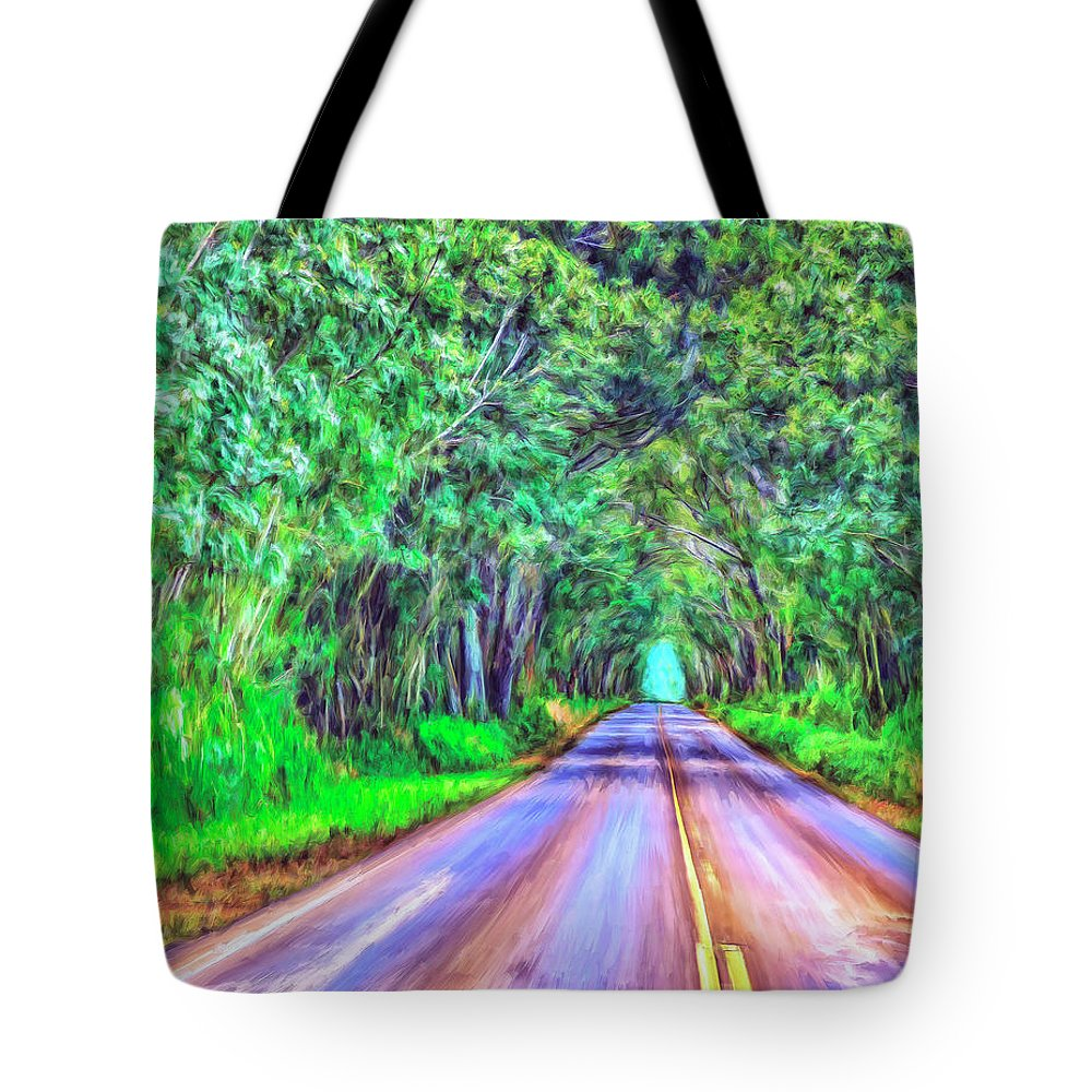 Tree Tunnel Tote Bag featuring the painting Tree Tunnel Kauai by Dominic Piperata