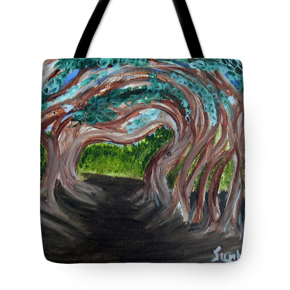 Dirt Path Tote Bag featuring the painting Tree Tunnel by Suzanne Surber