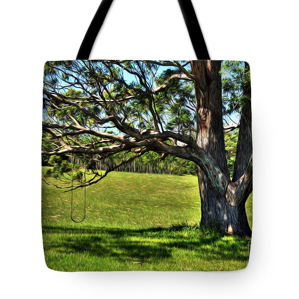 Photography Tote Bag featuring the photograph Tree With A Swing by Kaye Menner