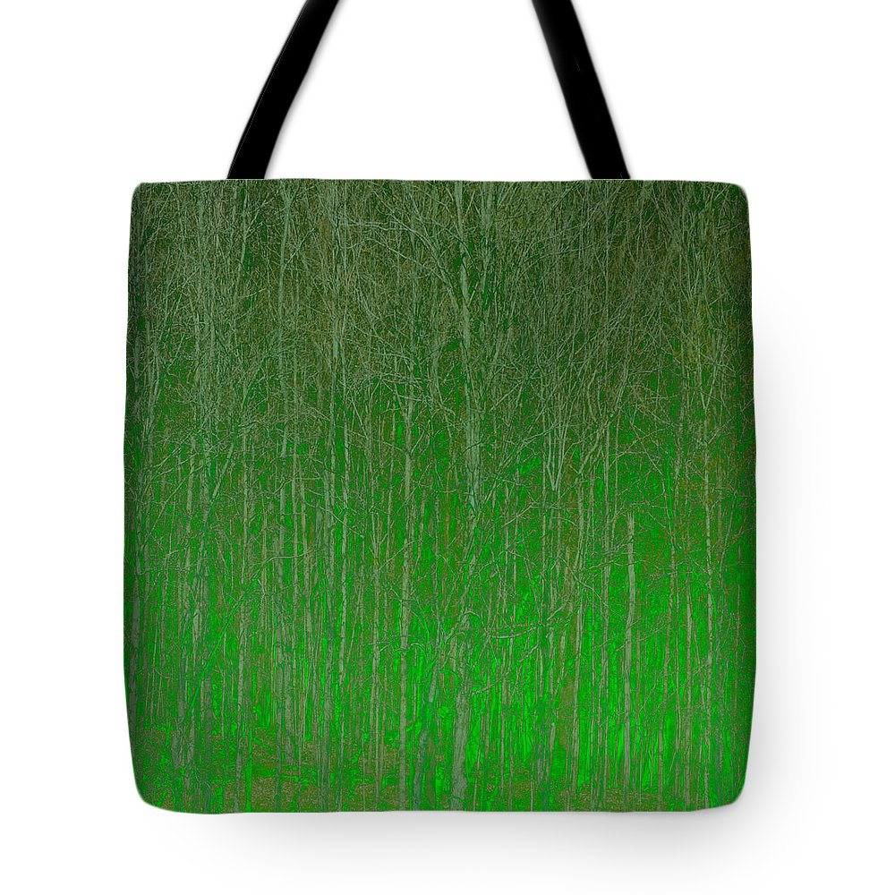 Abstract Tote Bag featuring the digital art Trees by Peter Tellone