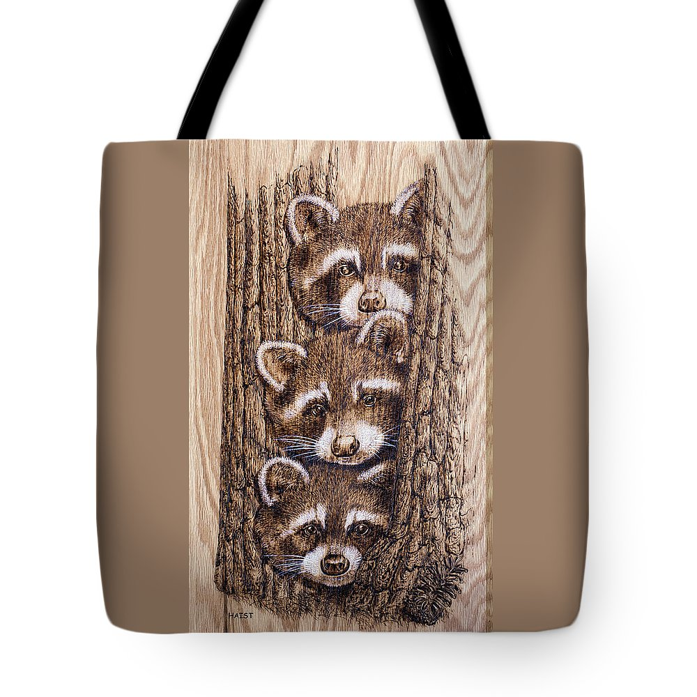 Tags Tote Bag featuring the pyrography Tres Amegos by Ron Haist