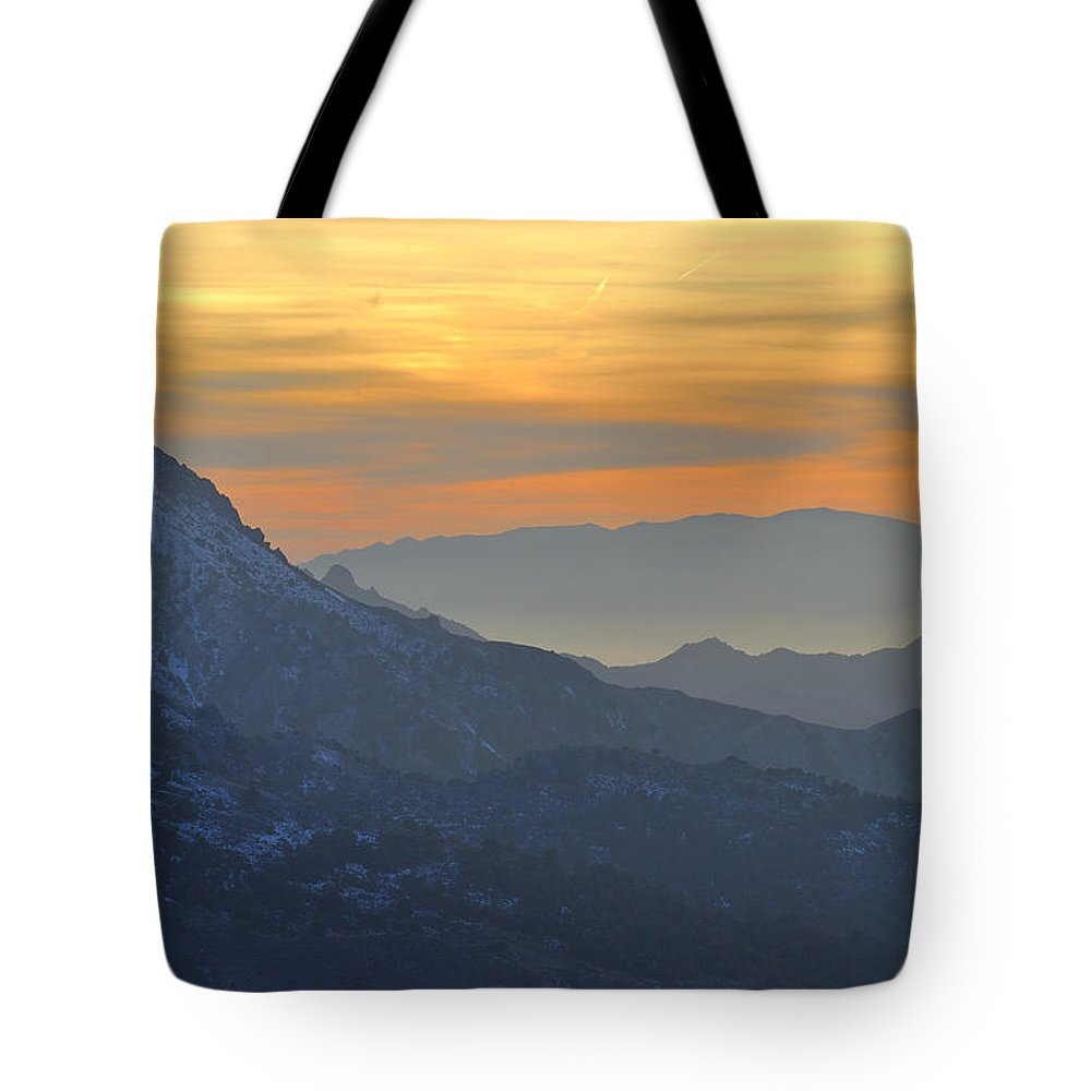 Sunset Tote Bag featuring the photograph Trevenque Mountain 2079 M by Guido Montanes Castillo