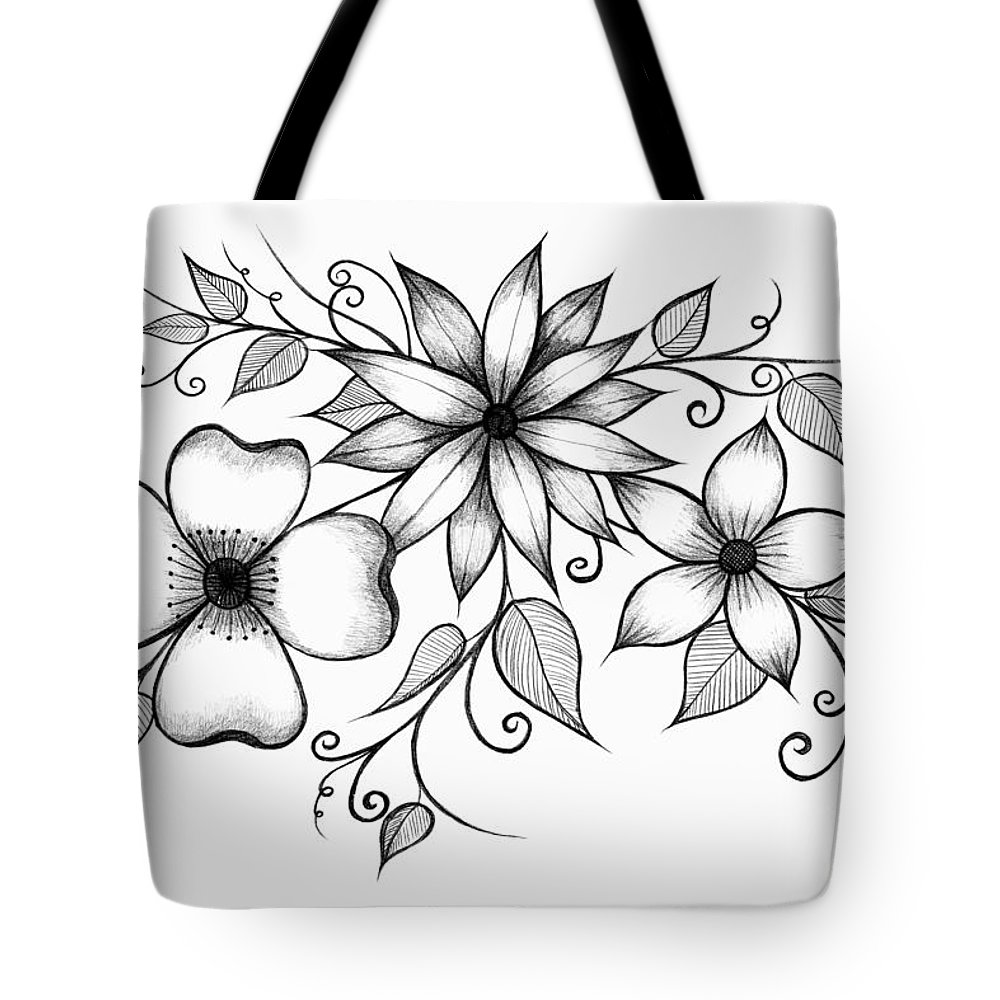 Flower Tote Bag featuring the drawing Tri-floral Sketch by Alina Davis