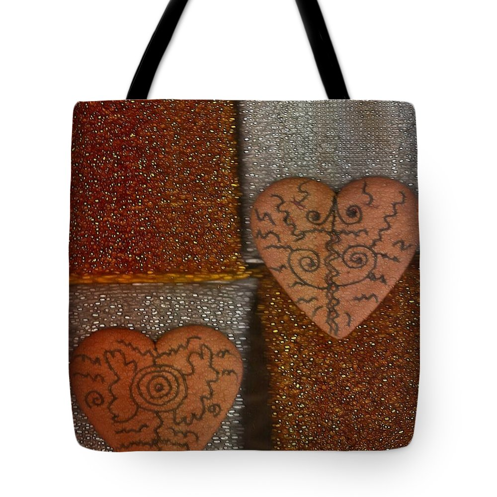 Landscape Tote Bag featuring the mixed media Tribal Hearts by Pepita Selles