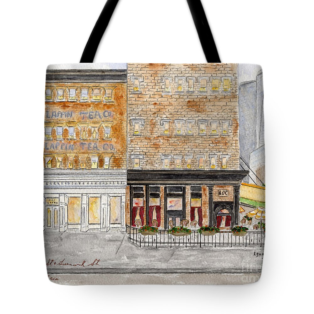 Duane Street Tote Bag featuring the painting Tribeca by AFineLyne