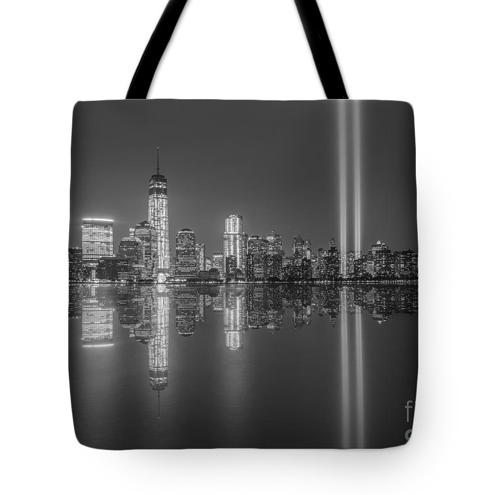 New York City Tote Bag featuring the photograph Tribute In Light Reflections Bw by Michael Ver Sprill