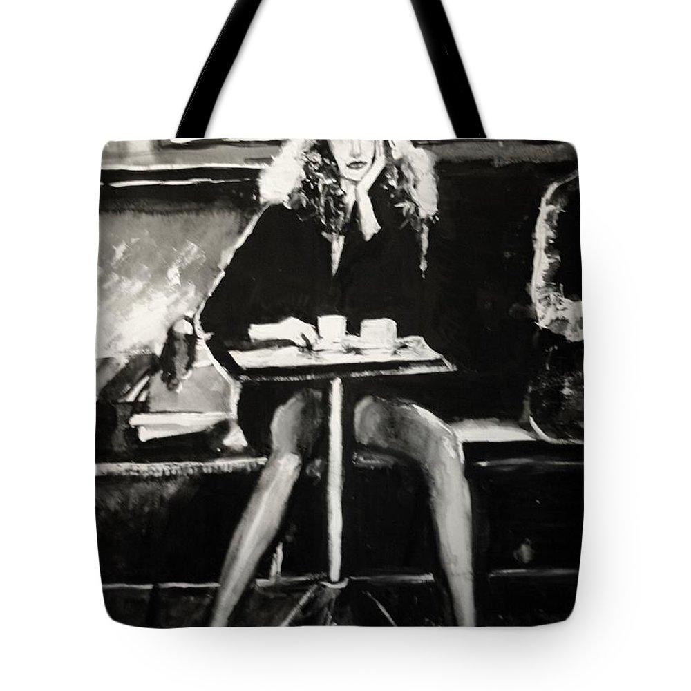 Portrait Art Tote Bag featuring the painting Tribute To Helmut Newton by Jarmo Korhonen aka Jarko