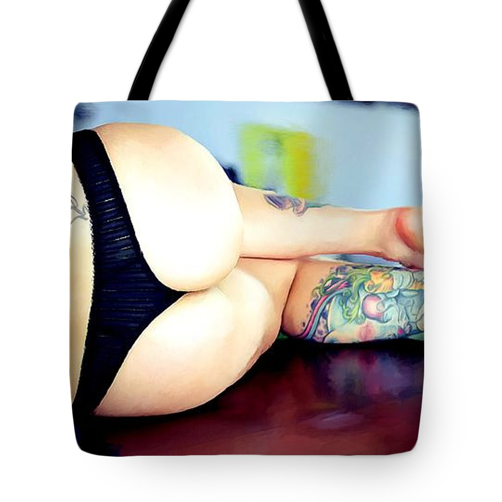 Tattoo Girl Tote Bag featuring the digital art Tribute to Suicide Girls 1 by Gabriel T Toro