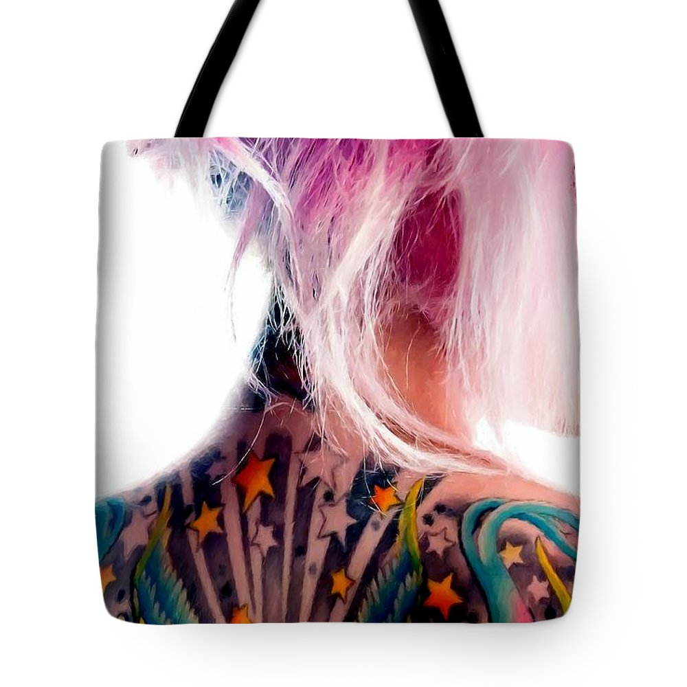 Tattoo Girl Tote Bag featuring the digital art Tribute to Suicide Girls 3 by Gabriel T Toro