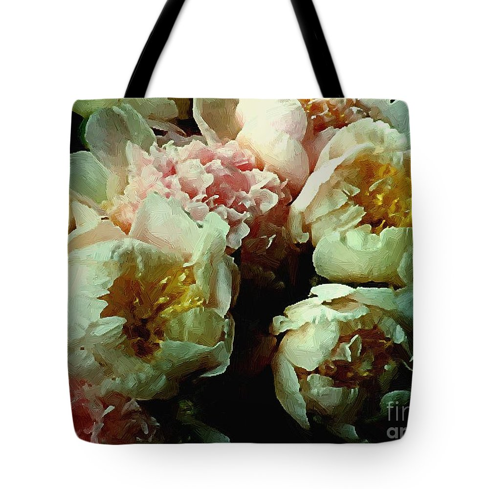 Peonies Tote Bag featuring the painting Tribute To The Old Masters by RC DeWinter