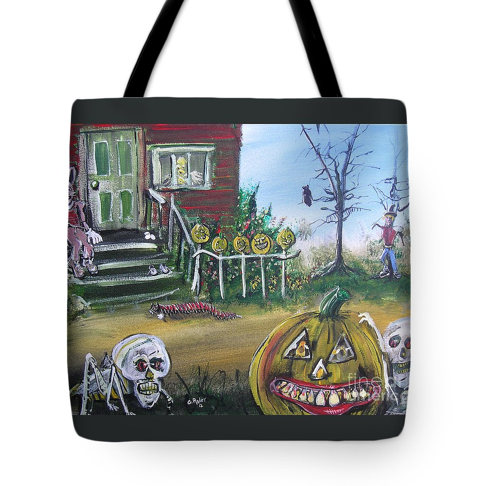 Halloween Tote Bag featuring the painting Trick Or Treat Night 5 by Gerald Rader