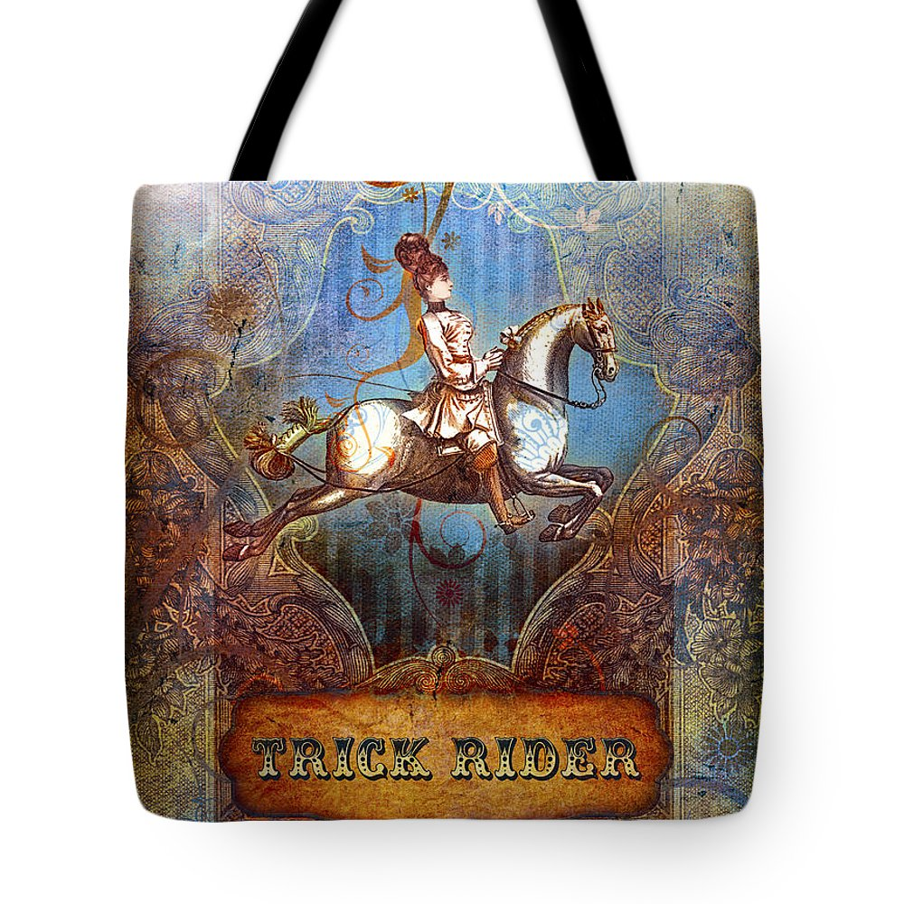 Aimee Stewart Tote Bag featuring the digital art Trick Rider by Aimee Stewart