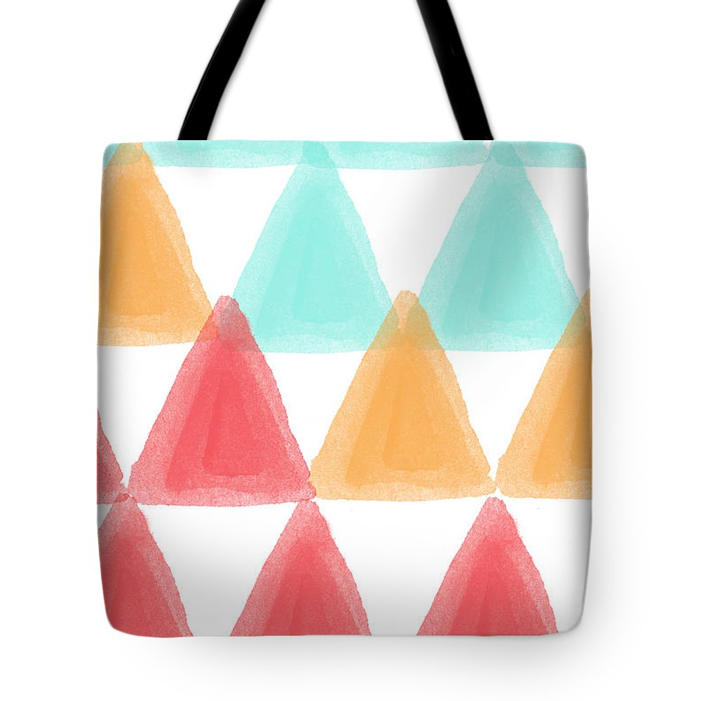 Triangles Tote Bag featuring the painting Trifold- colorful abstract pattern painting by Linda Woods