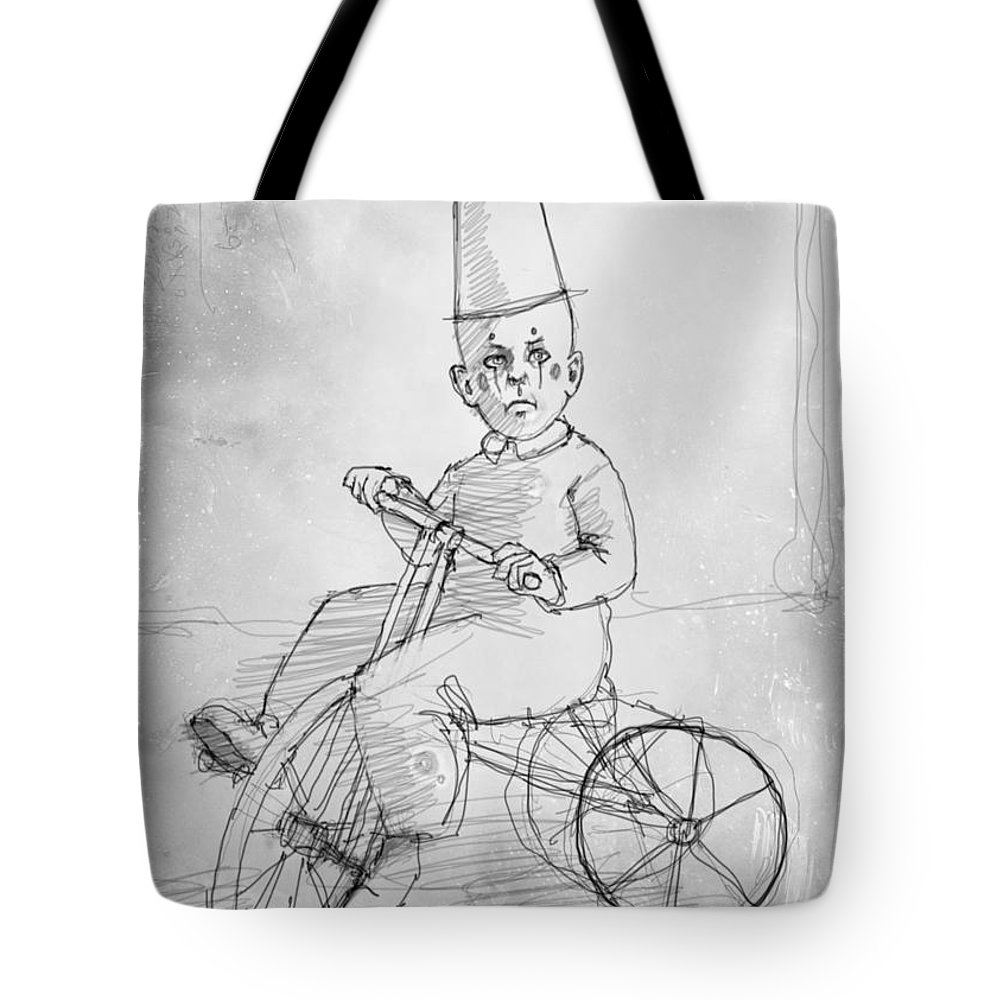 Children Tote Bag featuring the drawing Trike by H James Hoff