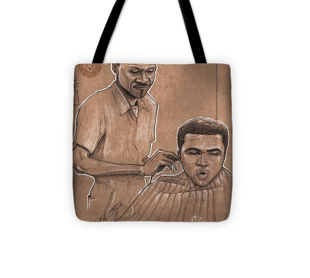 Barber Tote Bag featuring the drawing Trim The Lion by Shop Aethetiks