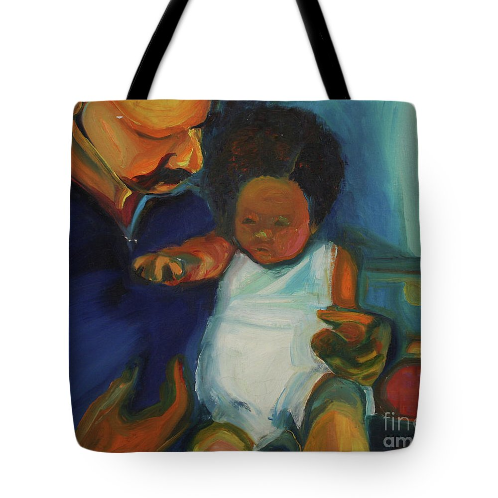 Oil Painting Tote Bag featuring the painting Trina Baby by Daun Soden-Greene