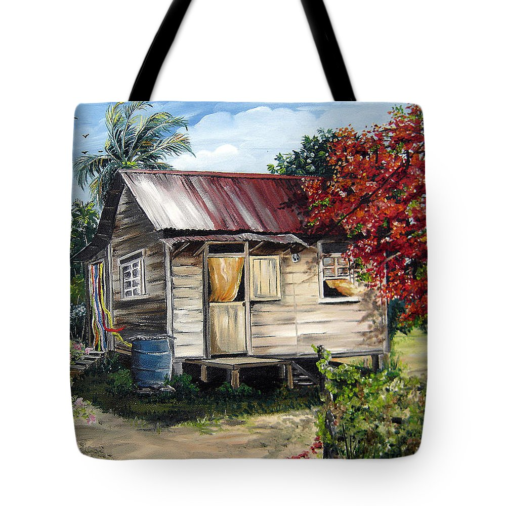 Landscape Paintings Tropical Paintings Trinidad House Paintings House Paintings Country Painting Trinidad Old Wood House Paintings Flamboyant Tree Paintings Caribbean Paintings Greeting Card Paintings Canvas Print Paintings Poster Art Paintings Tote Bag featuring the painting Country Life by Karin Dawn Kelshall- Best