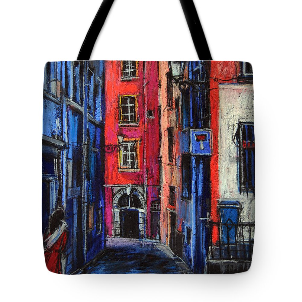 Trinite Square Lyon Tote Bag featuring the pastel Trinite Square Lyon by Mona Edulesco