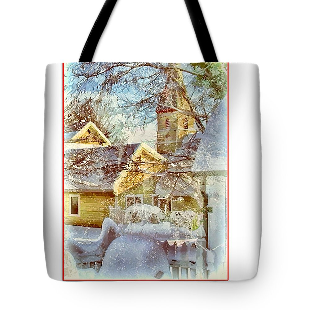 Julia Springer Tote Bag featuring the photograph Trinity Episcopal Church In The Snow - Shepherdstown by Julia Springer