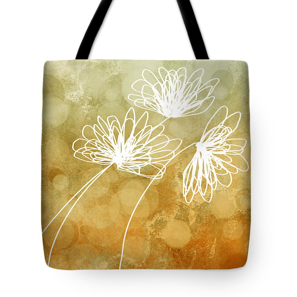 Flower Tote Bag featuring the digital art Trio Abstract Flower Art by Ann Powell